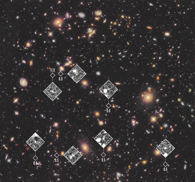Galaxies more than 13 billion years ago noted. Credit: NASA, ESA, R. Ellis, UDF 2012 Team