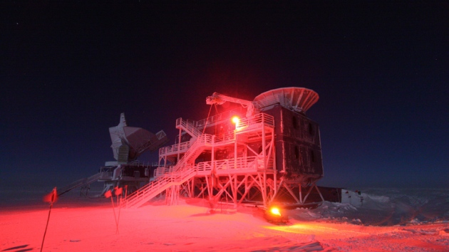 Amundsen-Scott South Pole Station, including BICEP2 tot he right; Credit: Robert Schwarz/University of Minnesota